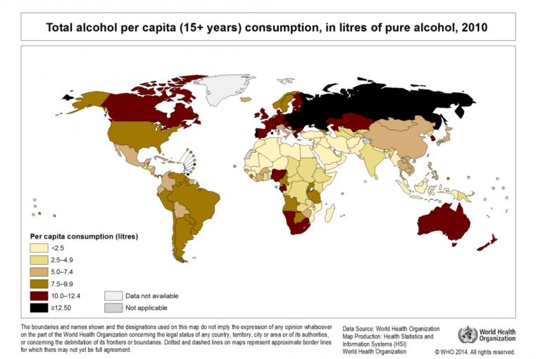 Alkoholio suvartojimas skirtinguose valstybėse